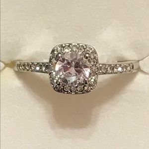 Sterling silver white topaz halo engagement ring